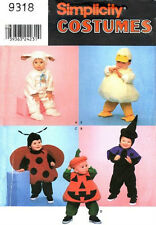 S 4825/9318 Toddlers' Lamb, Witch, Ladybug, Pumpkin & Duck Costume Patterns ½-4
