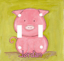 PERSONALIZED CUTE PINK PIG DOUBLE LIGHT SWITCH PLATE COVER