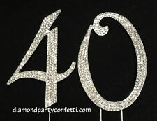 Large Rhinestone Crystal Covered 40 40th Birthday Anniversary Number Cake Topper