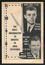 1961 WRGB ALBANY NEW YORK TV NEWS AD~GEORGE READING & HERB KOSTER