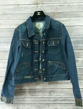 Old Navy Women's Denim Jacket Size XXL With Leather Cuffs Dark Distressed Wash