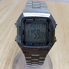 Casio A178W Men Steel Band Square LCD Digital Alarm Chrono Watch Hour~New Batter
