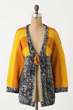 Anthropologie Maple Linen & Cotton $1Nordic Mustard Blue Gray Sweater Cardigan M