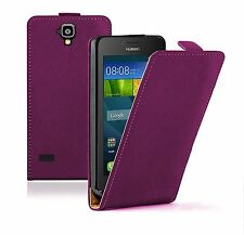 SLIM PURPLE Leather Flip Case Cover Pouch For Mobile Phone Huawei Y5 (Y560)