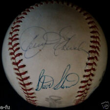 DENNIS ECKERSLEY STEVE STONE Dual Cy Young Signed Spalding Baseball PSA/DNA Auto