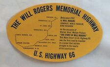 Vintage c1950s Highway Route 66 Luggage Label Will Rogers Memorial Highway