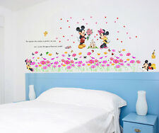 Wall stickers Mickey Minnie mouse flowers castle Art Kid Nursery Decal removable