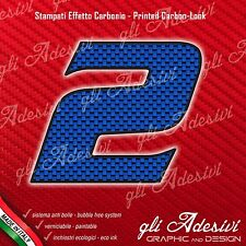 Adesivo Stickers NUMERO 2 moto auto cross gara Carbon Effect Blu 5 cm