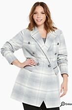 SOLD OUT NWT Torrid Plaid Wool Midi Coat SIZE 2 Grey And White