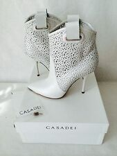 $1200. CASADEI UNIQUE WHITE LEATHER CUT ANKLE BOOTS. 38.1/2. HARD TO FIND