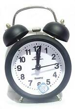 Vintage black 11cm Metal Body Twin Bell Alarm Black Table Clock With Back Light