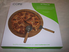 """Core Bamboo   14"""" Pizza Set, Board with Pizza Cutters"""