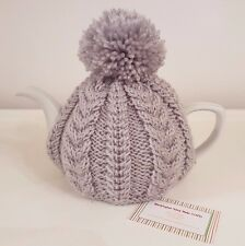 Hand Knitted Aran Tea Cosy - Silver Grey
