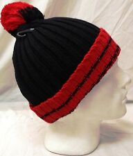 LADIES WOMENS CHUNKY KNIT CABLE HAT WITH POM POM BLACK RED  WINTER