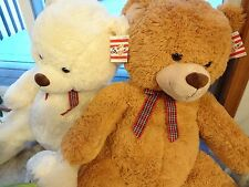 "Stuffed Giant 40"" Teddy Bears (White & Tan) Brand New - Free Shipping"