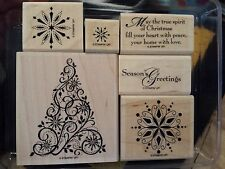 Stampin Up SNOW SWIRLED wm Stamp Set CHRISTMAS Ornate Tree Snowflakes Swirls