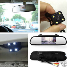 Car Reverse Backup IR Night Vision HD LED Camera+Rearview Mirror Display Monitor
