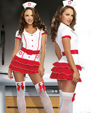 NUOVO WOMANS signore sexy Naughty infermiere Costume Gallina DOO Fancy Dress Party Vestito