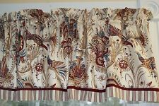 Markham Waverly Red Blue Cream Bird Toile Valance 17 x 53 Drapery Weight Curtain