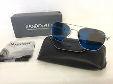 RANDOLPH AF54668-PC AVIATOR MATTE CHROME w/BLUE SKY FLASH 55mm LENSES SUNGLASSES