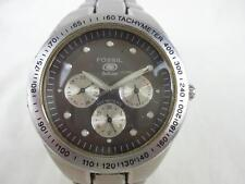 Mens Fossil Blue Stainless Steel Watch BQ9066- Gray Face Tachymeter Day Date