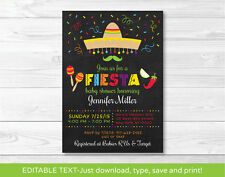 Fiesta Baby Shower Invitation Chalkboard Fiesta Printable Editable PDF
