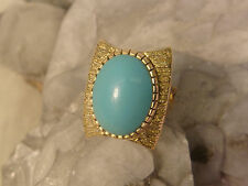 PERSIAN TURQUOISE RING 18K GOLD ABSTRACT MODERN MID CENTURY MODERNIST STUNNING !
