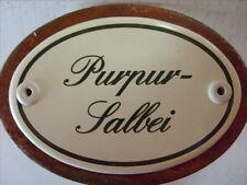 Kräuterschild Kräuterstecker Pflanzschild Emaille Emailschild Purpur-Salbei 25cm