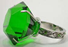 "GREEN DIAMOND GLASS NAPKIN HOLDER & PAPERWEIGHT W/BEJEWELED SILVER RING (3"")"