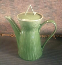 "10"" Ceramic Tea Pot ~ 60's Style Tall / Slim Majolica Green Reed Pattern ~Gibson"