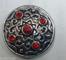 Noosa Style Snap on Chunk Button Star 5 Red Jewels Antique Silver Aus Seller