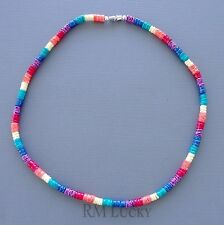 Puka Smooth Shell Mixed Colors Necklace Choker Surfer Hawaiian Screw Clasp 18""