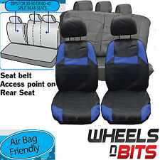 VW Caddy Amarok UNIVERSAL BLACK & Blue PVC Leather Look Car Seat Covers Set