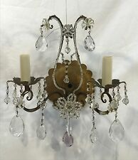 Vintage Italian Beaded & Crystals Gilt Gold Tole Metal Wall Sconce