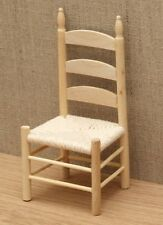 1:12 Dolls House Kitchen chair with rope seat – Barewood