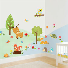 Animal Forest Hedgehog Squirrel Deer Tortoise Child Art Wall Stickers Decals UK