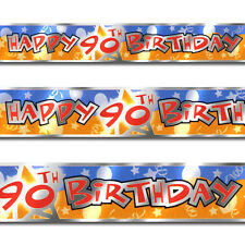 12ft Blue Orange Happy 90th Birthday Party Foil Banner Decoration