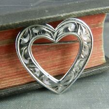 HSB Harry S. Bick Etched Sterling Silver Heart Pin