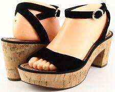 DIANE von FURSTENBERG ODELIA Black Suede Designer Open Toe Platform Sandals 7.5