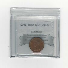 **1932**, Coin Mart Graded Canadian, Small One Cent, **AU-50**