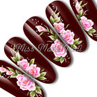 Nail Art Water Decals Transfers Stickers Large Pink Oriental Flowers Floral G020