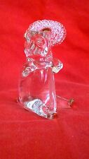 Blown Glass figurines - Clear Glass Standing Bear with Umbrella with Gold Trim