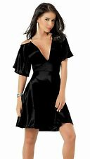 4055 Sexy Electric BLACK Cocktail Ultra Mini DRESS Club wear Party L Large