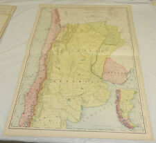 "1908 Rand McNally MAP of ARGENTINA, CHILE, PARAGUAY, URUGUAY/20.5x28""/w/ Index"