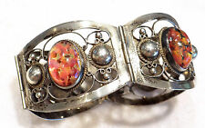 Early pre-1948 Vtg Sterling Mexico Fire Opal Glass Cabochon Bracelet Signed
