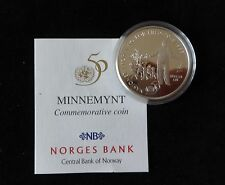 1995 SILVER PROOF NORWAY 50 KRONER COIN + COA 50th ANNIVERSARY OF UNITED NATIONS