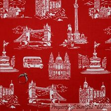 BonEful Fabric FQ Cotton Red White London Bridge L England Scenic British Travel