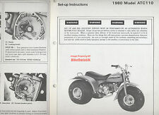 Honda ATC110 (1980-on) Dealership Set-Up Manual ATC 110 ATV,Trike (not Quad)