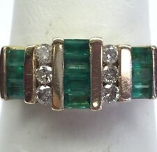 14k Gold M Diamond & Emerald Ring Round Retro Natural TCW 1.0 Sz 7.5 Excellent!