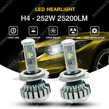 H4 252W 25200LM PHILIPS LED Headlight Kit Hi/Low Beam Bulb White 6000K Power US
